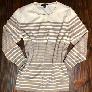 Ann Taylor cream/ khaki cardigan sweater